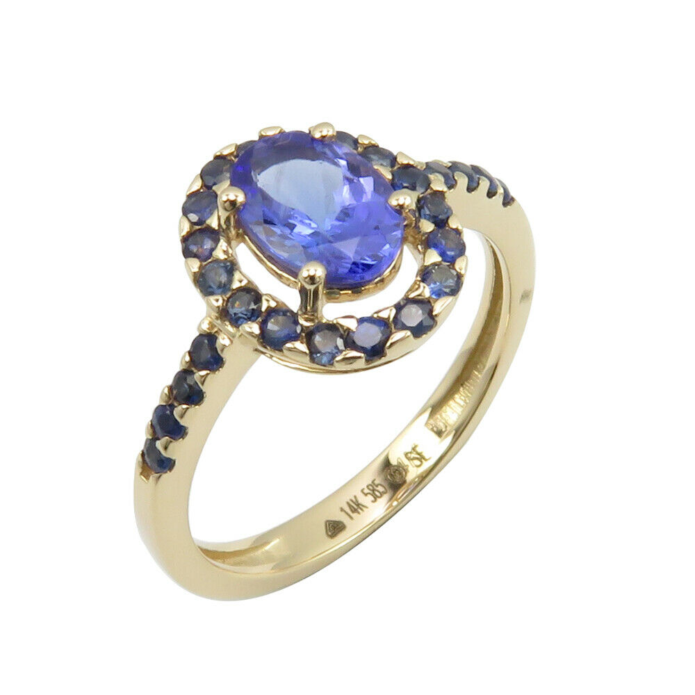 bluee Tanzanite Sapphire 14K SOLID YELLOW gold  Ring Size 6.75 Engagement Gift