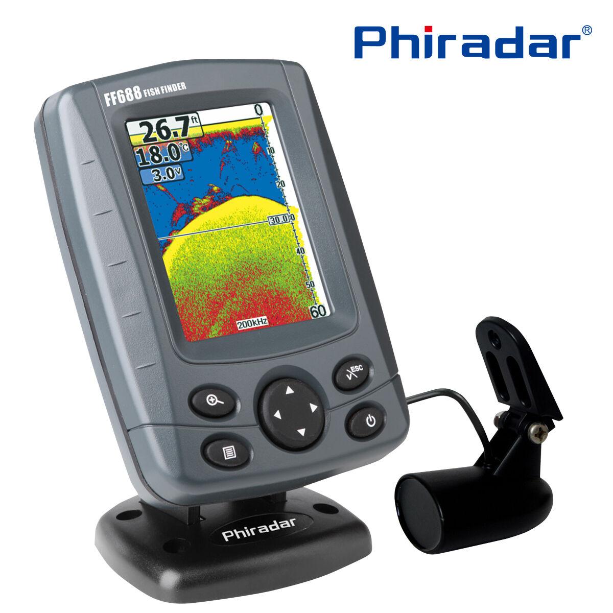 Phiradar FF688C barco Sonar Buscador de Los Pescados Peces & Profundidad Alarma Audible supersónica K8U9