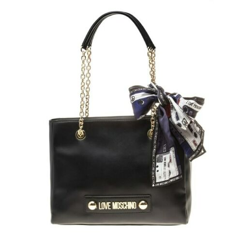 New Womens Love Moschino Black Scarf Charm Polyurethane Tote Handbags