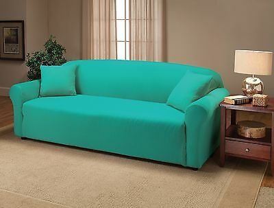 """JERSEY SOFA /""""STRETCH/"""" COUCH SLIP COVER---AQUA---A GREAT BUY-COMES IN 12 COLORS"""