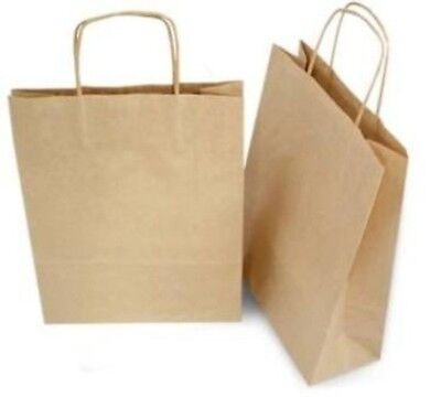 250 Bundle 13 x 7 x 17 In Natural Brown Kraft Paper Shopping Bags With Handle