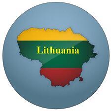 LITHUANIA MAP / FLAG - ROUND SOUVENIR FRIDGE MAGNET - NEW - GIFT