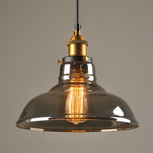 Vintage retro industrial smoke glass shade loft cafe pendant light image is loading vintage retro industrial smoke glass shade loft cafe mozeypictures Image collections