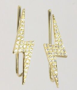 14k-Yellow-Rose-or-White-Gold-Lightning-Bolt-Ear-Climber-Earring-Dia-0-16-cts
