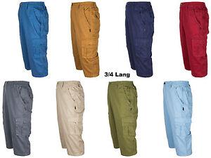 Herren-Cargo-Shorts-Bermudas-von-SOUNON-3-4-Lang-aus-100-Baumwolle