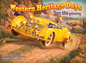 Prescott-Western-Heritage-Poster-with-Tom-Mix-in-his-beloved-1937-Cord-Phaeton