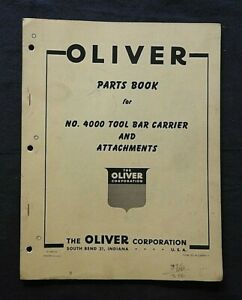 """1950's OLIVER """"NUMBER 4000 TOOL BAR CARRIER"""" PARTS CATALOG MANUAL NICE"""