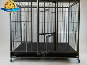 Homey Pet Extra Large Heavy Duty Metal Dog Cage Kennel Plastic Floor Grid
