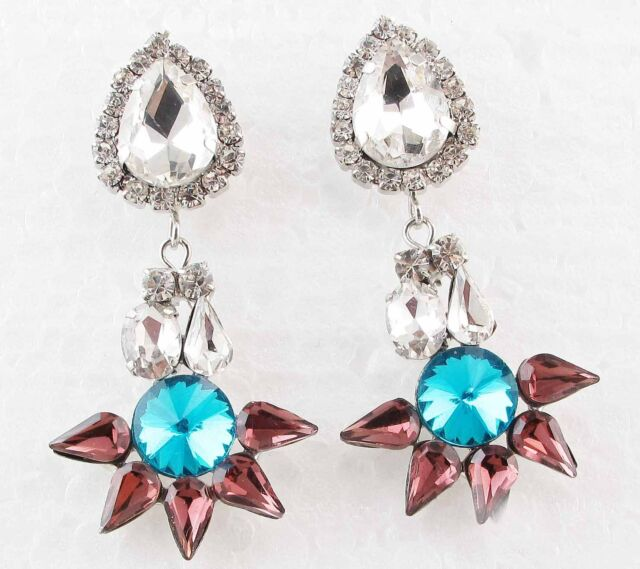 Exquisite New design women gorgeous bib statement S&W crystal long Earrings e102