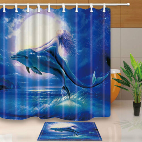 Mermaid and dolphins Shower Curtain Bedroom Waterproof Fabric /& 12hooks 71*71in