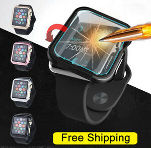 Apple Watch Series 3/2/1 38/42 Mm Snap On Coque Hard Case Cover + Protecteur D'écran-afficher Le Titre D'origine