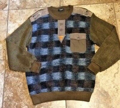 "Sweaters Vintage Wool & Leather Sweater G Guri Fashion S.k Sportswear 40"" Chest Latest Technology"
