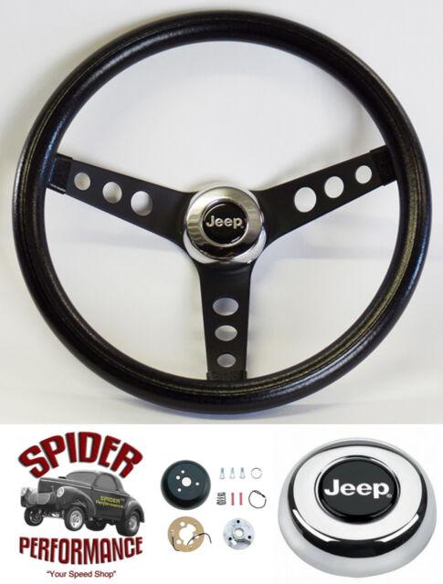 """1976-1995 Jeep Cherokee steering wheel JEEP 13 1/2"""" CLASSIC BLACK steering wheel"""