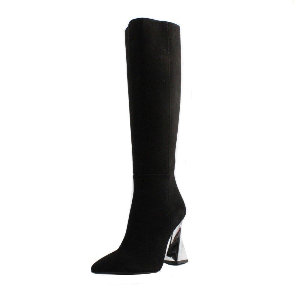 High boots pointed Tiffi woman suede black heel comfortable comfortable comfortable spiral silver 15da63