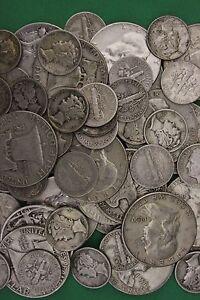 MAKE OFFER 2 Troy Ounces 1964 Kennedy Franklin Mercury Junk 90/% Silver Coins