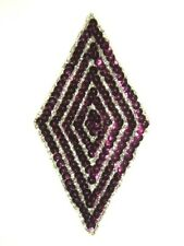 "K8385 ~ FUCHSIA DIAMOND SEQUIN BEADED APPLIQUE 5.5"""