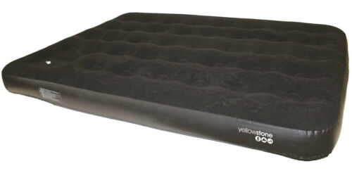 Yellowstone Deluxe Double Flock Airbed With Built In Foot Pump Camping Hiking