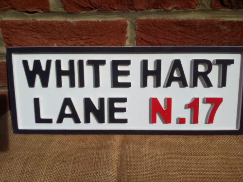 """/""""WHITE HART LANE N17/""""retro//vintage style rustic Spurs football wooden sign SALE"""