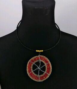African-Handmade-Maasai-Masai-Beaded-Tribal-Colorful-Circle-pendant-Necklace-Red