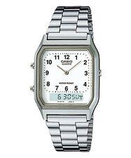 Casio AQ230A-7B Men's Silver Tone Metal Band Analog Digital Dual Time Watch