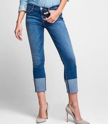 $ 225 Nuova Con Etichetta Hudson Sz28 Tally Deep Cuff Corto Skinny Midrise Jeans Forte Resistenza Al Calore E All'Usura Dura