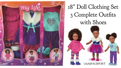 """18/"""" DOLL Clothing OUTFITS Shoes Party Dress Pink+Purple Set fits American Girl"""