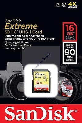 SANDISK EXTREME SDHC SD HC 16GB 16G 16 G UHS-I U3 CLASS 10 90MB NEW