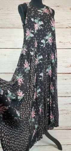 Vtg 90s Maxi Dress Black Floral Gauze Cottagecore