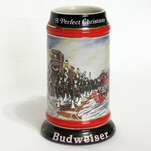 Budweiser 1992 Holiday Beer Stein A Perfect Christmas Handcrafted Ceramarte