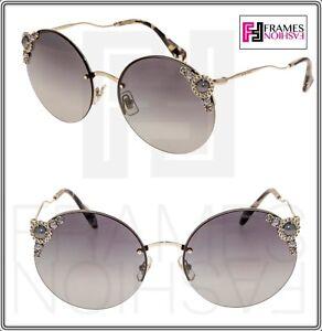 a99b10acc6ae MIU MIU MANIERE 52T Gold Crystal Pearl Grey Gradient Round ...