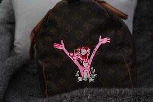 Louis-Vuitton-Keepall-Bolso-rosa-pintado-a-mano-Pantha-100-Genuino