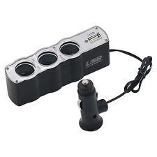 Car Cigarette Lighter Socket Splitter 3 Way USB Charger Adapter DC 12V Fancy