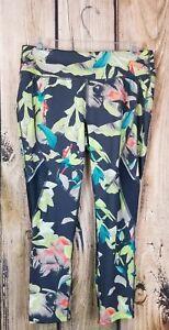 Avia-Vented-Yoga-Pants-Floral-Iris-Greystone-Size-S
