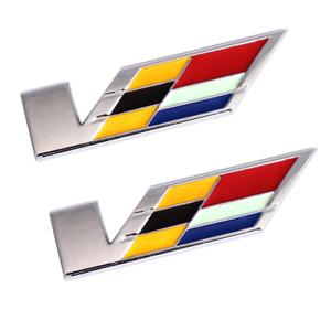 2x Chrome V Emblem Car Fender Rear Badge for Cadillac SLS SRX XTS CTS STS ATS