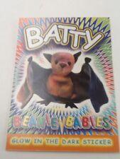TY Beanie Babies Glow in the Dark Sticker Coloring Card BATTY College Fund Help