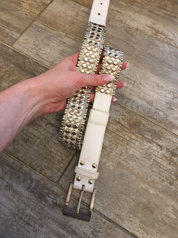 Diszipliniert Gürtel Damen Grösse 105 Cm Weiss Nieten Metall Details Silber Schwer Lange Lebensdauer