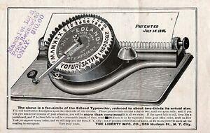 Original 1891 EDLAND TYPEWRITER FLYER Antique Schreibmaschine Machine A Ecrire