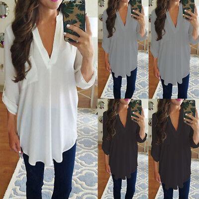 Top V Chiffon Sleeve Size Neck Ladies Tunic Shirt T-shirt Long Women Plus Blouse