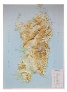 Cartina Sardegna Rilievo.Dettagli Su Sardegna Carta Regionale In Rilievo 3d 67x93 Cm Senza Cornice Global Map