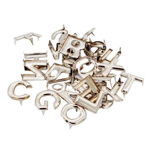 52Pcs Silber Metall Alphabet Buchstaben A Z Nieten Nieten für Taschen