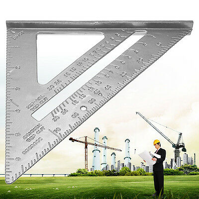 """7"""" Alloy Speed Square Protractor Miter Double metric scale Ruler For Carpenter"""