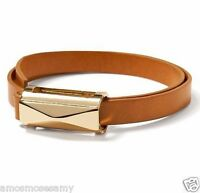 Banana Republic Women Leather Wrap Slide Camel Bracelet Jewelry Gold Plate
