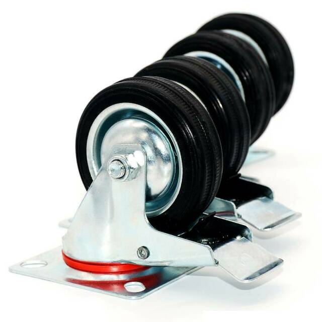 """4 pack 2/"""" Swivel Caster Wheels Rubber Base with Top Plate /& Bearing Heavy Duty"""