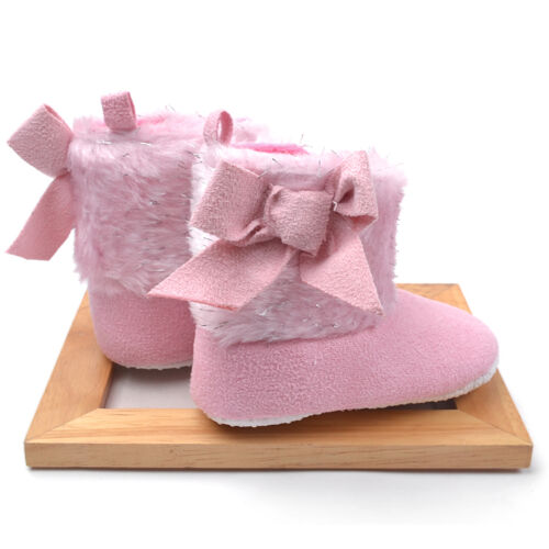 SALE NEW Infant Baby Girls Fur /& Bow Boots Shoes 0-6-12months size1//4
