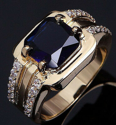 Size 8,9,10,11 Fashion Man's Blue Sapphire 18K Yellow Gold Filled Wedding Ring