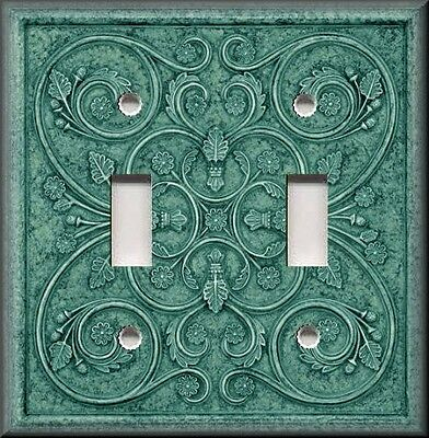 Metal Light Switch Plate Cover - Home Decor French Pattern Image Teal Green