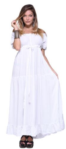 Y982 Maxi Lotustraders corta Empire Dress Plus Peasant Manica Boho FqaYTE