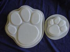 Lg & Sm Dog Cat Paw Foot Print Footprint Concrete Stepping Stone Mold Set 1009