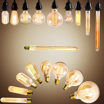 Vintage Edison E27 Incandescent Light Bulb Glass Light Lamp Bulb Globe Bulbs