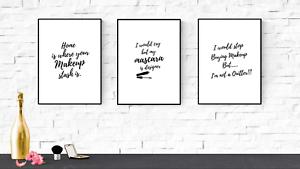 Set Of 3 Beauty Quote Prints Dressing Room Wall Art Set Beauty Salon Ebay